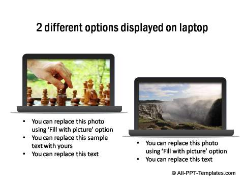 2 different options displayed on laptop