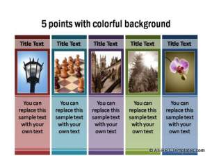 5 points in a colorful background