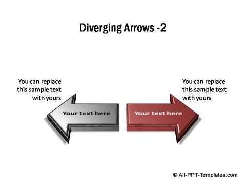 2 sets of diverging 3D block arrows