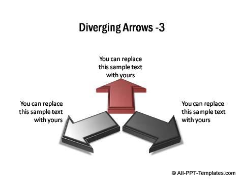 3 sets of diverging 3D block arrows