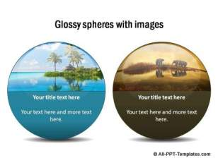Glossy spheres with images and text