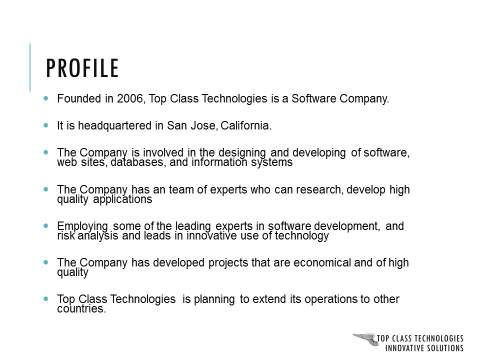 Corporate Presentation Profile Slide : Before