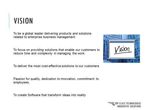 Corporate Presentation Vision Slide : Before