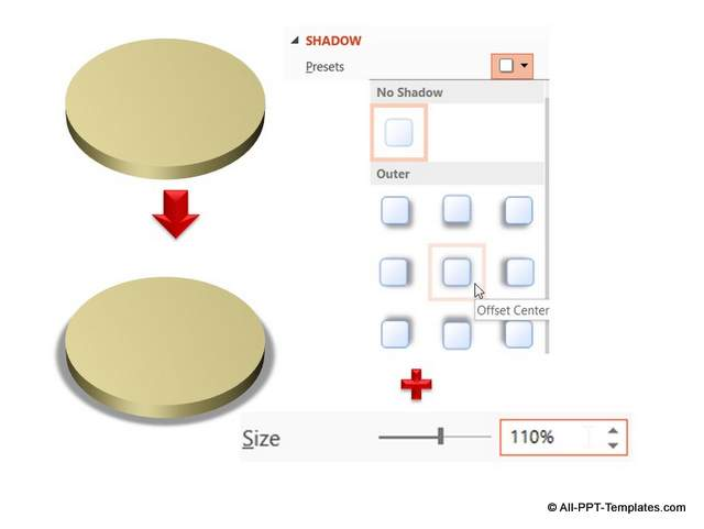 Adding Shadow in PowerPoint to 3D Circle