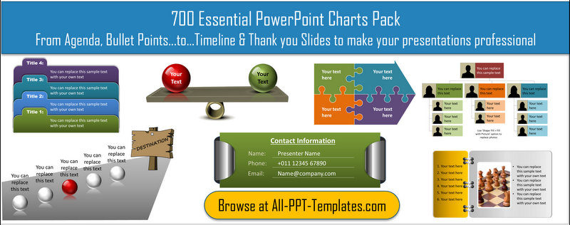 Download 700 Essential PowerPoint Charts in 1 pack. Everything from Agenda, Bullet points to Timeline and Thank you slides to make presentations professional