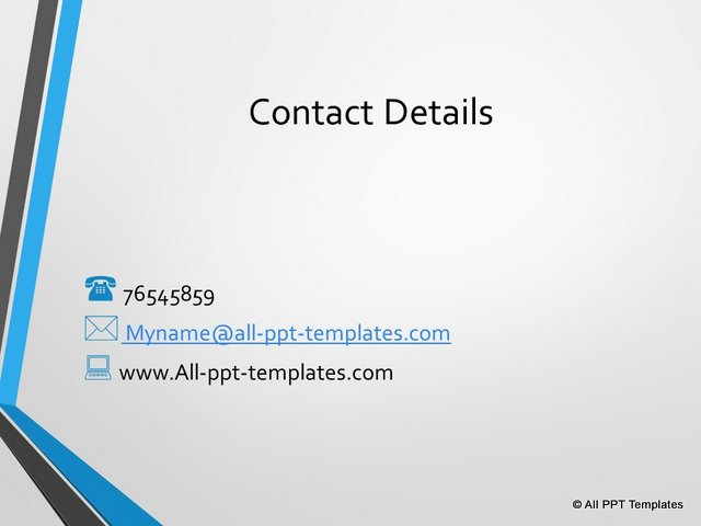 Contact details slide with creative bullets