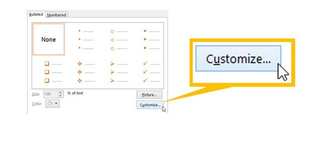 PowerPoint Bullet Customize Menu