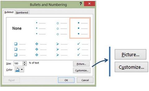 Bullet Point Dialog Box