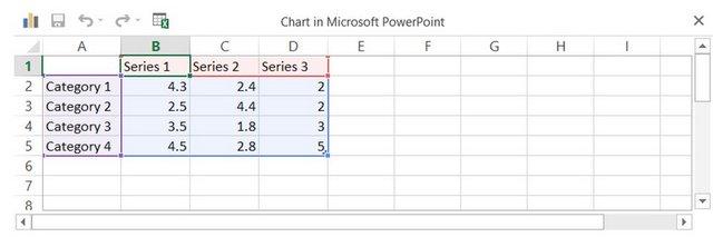Data Worksheet in PowerPoint