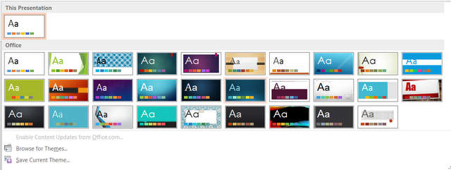 applying powerpoint design theme