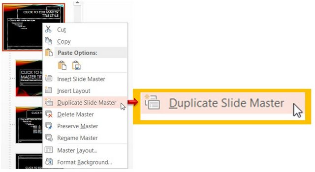 Duplicate slide master