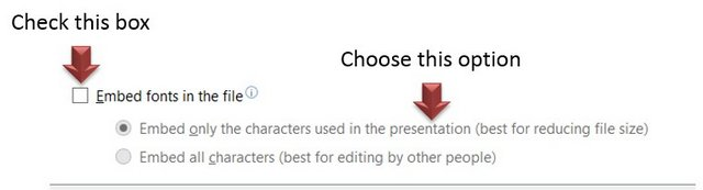 Embed Font Option
