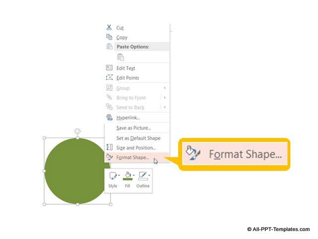 Format shape option to get to 3D bevel