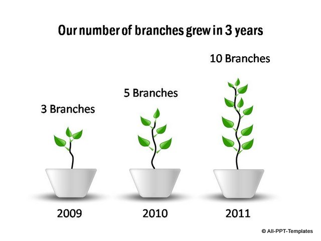 Branch growth shown in 3 stages