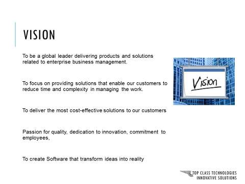 Corporate Presentation Vision Slide : Before