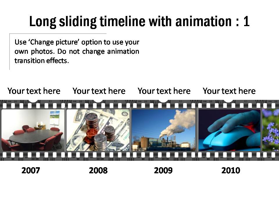 Long sliding 8 period timeline with animation. There are 2 related slides that will work together.
