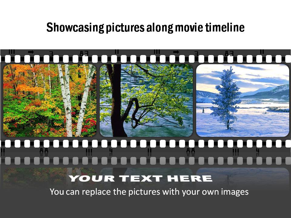 Template to showcase pictures along a movie strip. You can replace the photos easily.