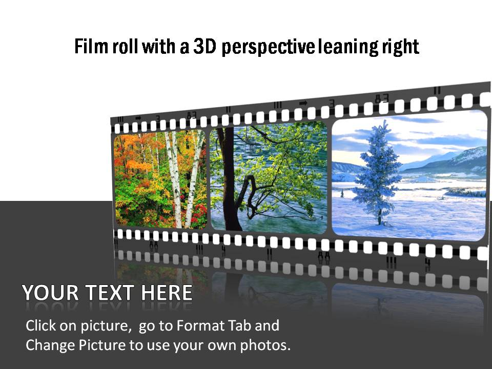 Film roll style timeline templates with a 3D perspective to the right. Useful to show events for 3 periods.