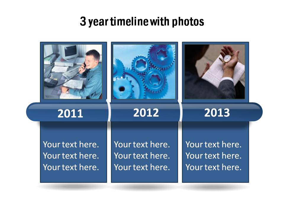 3 Year chart template with a glossy bar to display the time period. Replace the years and photos easily.