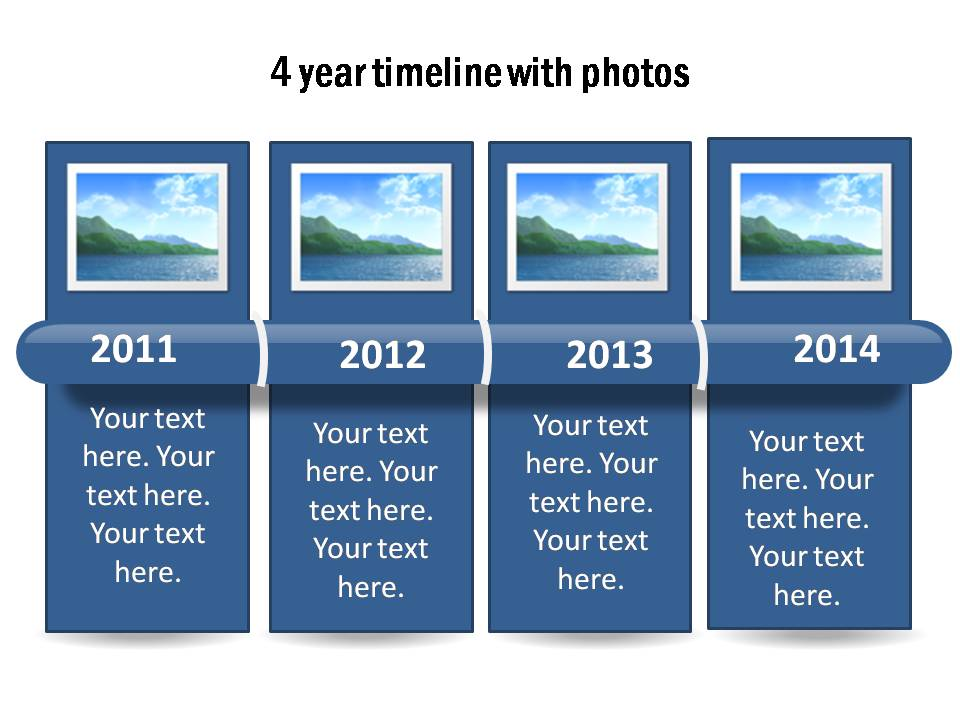 4 year chart template with a glossy bar to display the time period. Replace the years and photos easily.