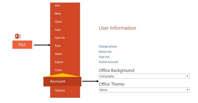 Steps to change office background and theme