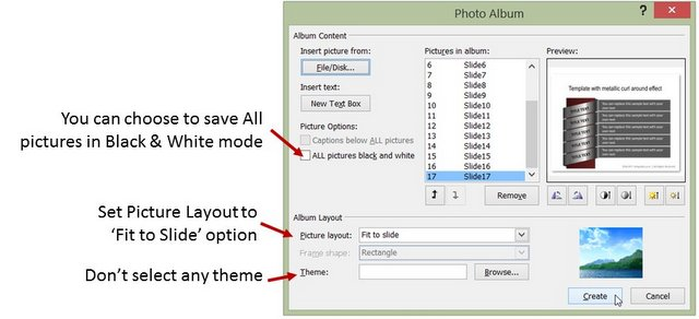 Photo Album Options