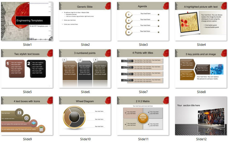PowerPoint Construction Blueprint Template 01