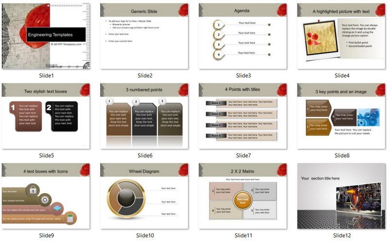 PowerPoint Construction Blueprint Template 01