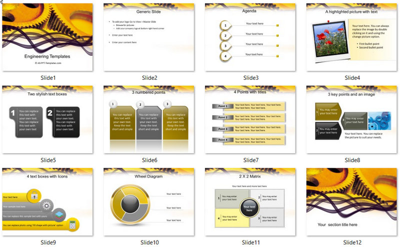 PowerPoint Engineering Gears Template (2) : 01