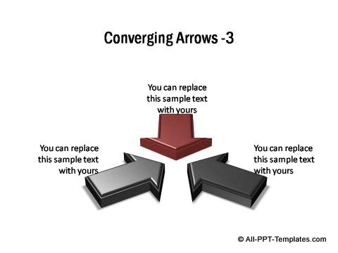 3 sets of 3D block arrows converging