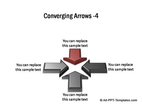 4 sets of 3D block arrows converging
