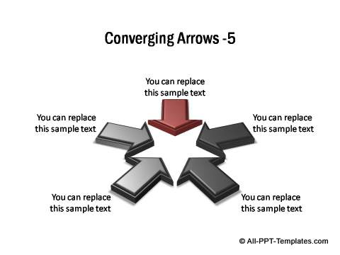 5 sets of 3D block arrows converging