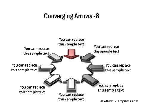 8 points converging shown in circular arrangement