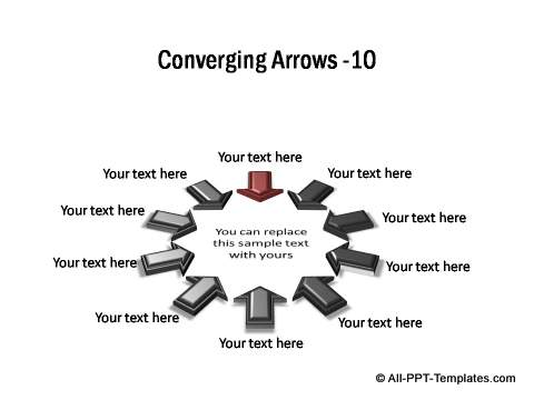 10 points converging shown in circular arrangement