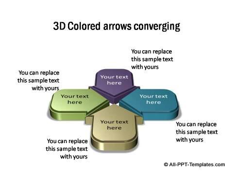 3D multicolored arrows converging