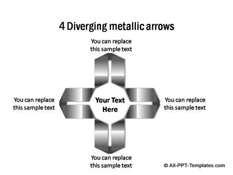 Diverging Metallic Arrow
