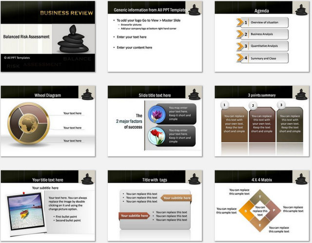 PowerPoint Balanced Risk Assessment Charts 1
