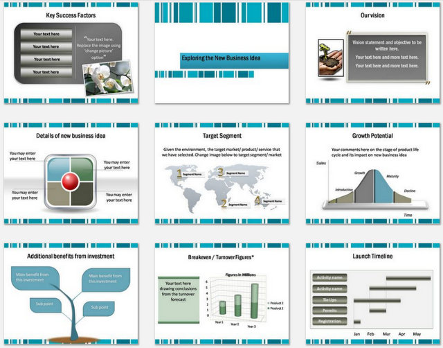 Powerpoint Business Lines Charts 2