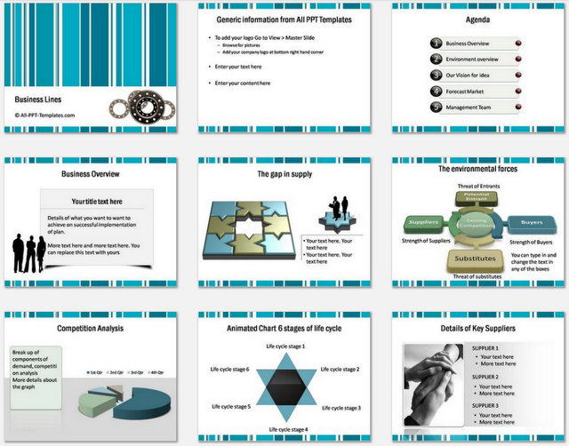 Powerpoint Business Lines Charts 1