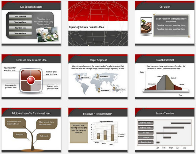 Powerpoint Business Plan Blueprint Charts 2