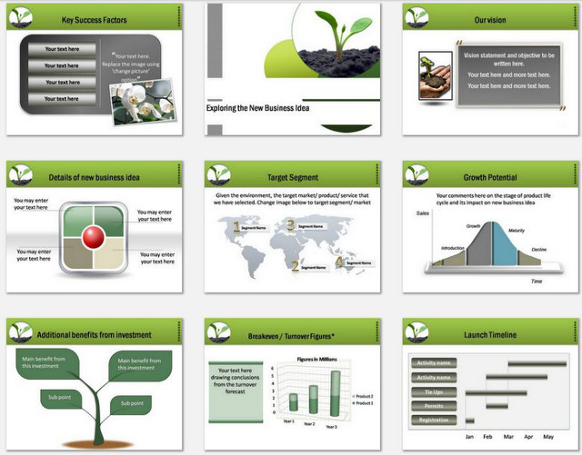 Powerpoint Business Plan Growth Charts 2