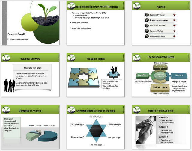 Powerpoint Business Plan Growth Charts 1