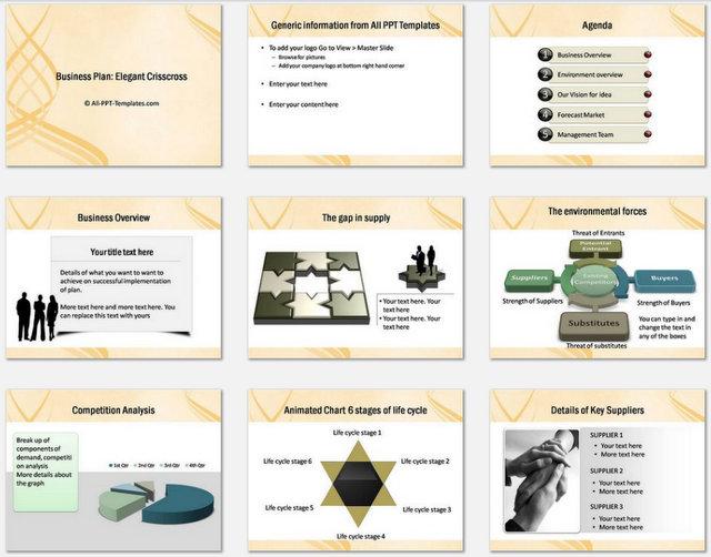 Powerpoint Elegant Crisscross Charts 1