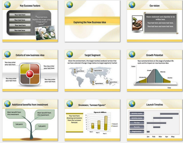 Powerpoint Gold Wave Charts 2