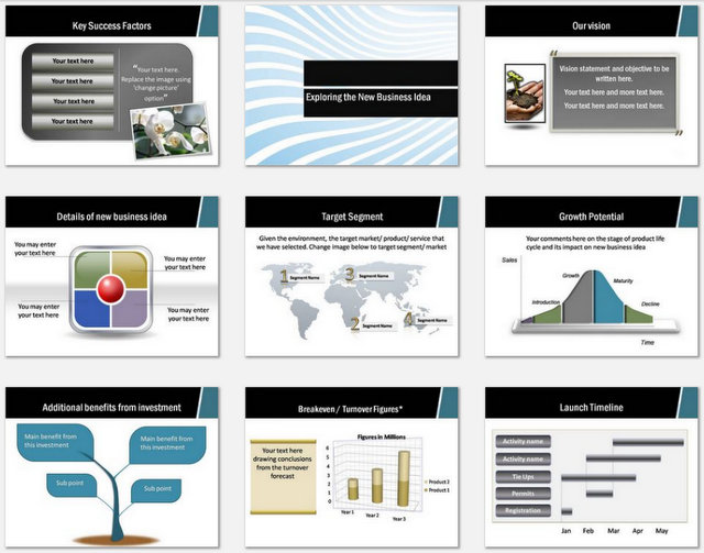 Powerpoint Business Plan Wave Design