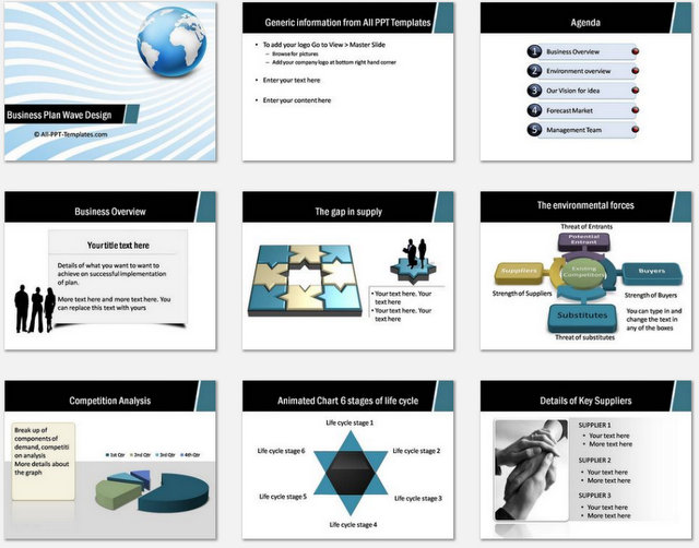 Powerpoint business plan wave design for What is a design template in powerpoint