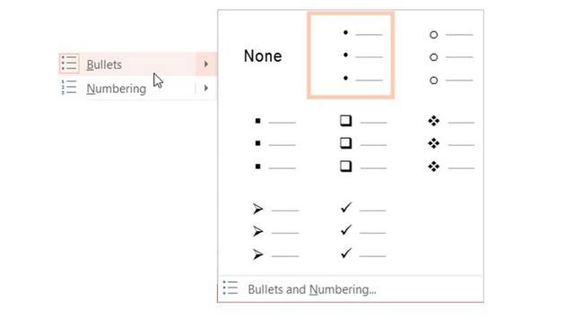 PowerPoint Bullets Menu