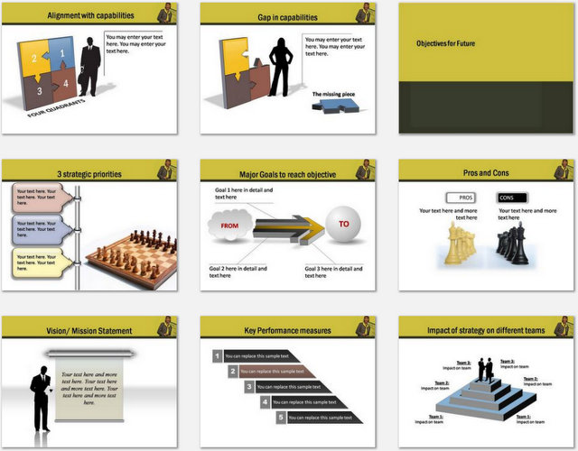 PowerPoint Business Goals Charts 02