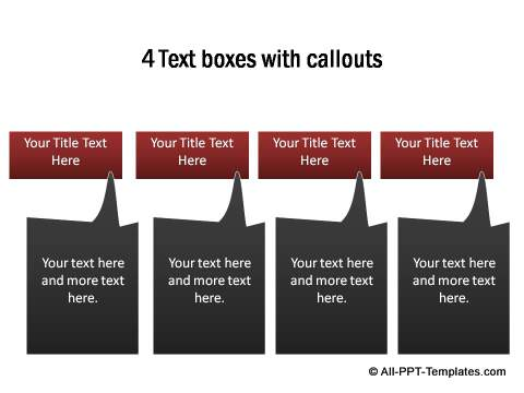 4 Text Boxes with callouts