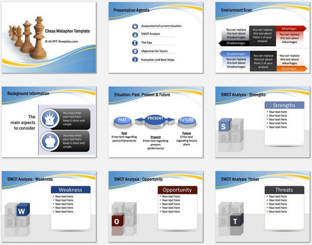 PowerPoint Chess Metaphor Charts 01